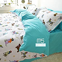 FADFAY Dog Print Bedding Cute Kids Duvet Cover Sets 4PCS Full Size
