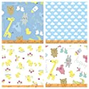 Blue Kids Fabric Baby Fabric 4 Fat Quarter Fabric Bundle by Windham Fabrics - 100% Cotton Blue White Ducks, Ccicks, Clouds, Animals Fabric