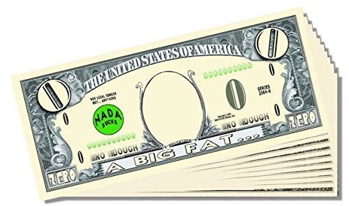 Big Fat Zero Dollar Novelty Bill - 10 Count with Bonus Clear Protector & Christopher Columbus Bill
