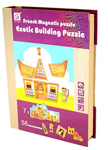 French Magnetic Deluxe Puzzle - Exotic Buildings Dress up - 65 Pcs (7 Cards and 58 Magnetic Accessories) - 1