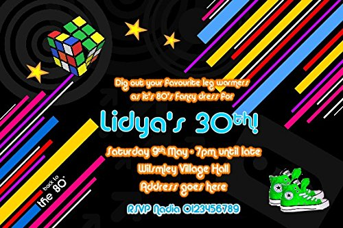 Personalised 80s Birthday Party Invitations  Ten invites printed on 260gsm glossy cards. For any age and includes envelopes. Add any message.