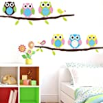 SOLEDI Cute Removable Six Owls Branch...