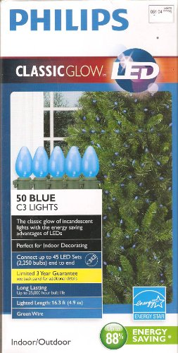 Philips 50 Count C3 Blue Indoor/Outdoor Led Christmas String Lights