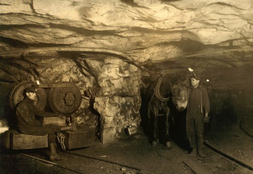 Mule and Motor Power in the Mine, Pittston, Pennsylvania, 1911