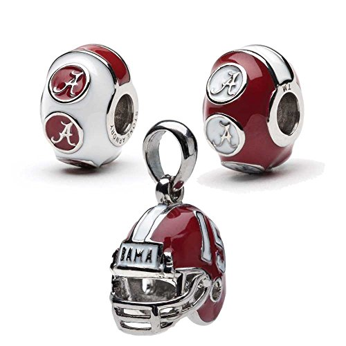 Alabama Crimson Tide 3-D Bead Charms - Set of 3 - 1 Football Helmet + 2 Round with