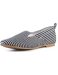 Shumael Blue Striped Slip-ons Shoes