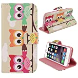 Bessky(TM) 4.7 Inch New Case!!Wallet Flip Stand Leather Cover Case For iPhone 6 6G (Three Owls)