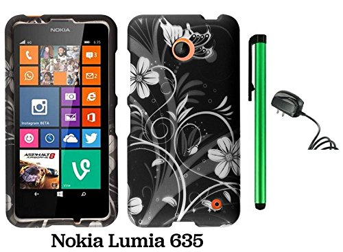 Nokia Lumia 635 (Us Carrier: T-Mobile, Metropcs, And At&T) Premium Pretty Design Protector Cover Case + Travel (Wall) Charger + 1 Of New Assorted Color Metal Stylus Touch Screen Pen (Black Silver Butterfly Flower)