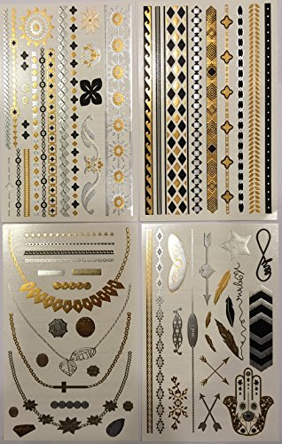 Metallic Temporary Tattoos (4 Different Sheets) – Beautiful Tattoo Flash & Body Art – Black, Silver & Gold Tattoo Jewelry, Rings, Arrows, Bands, Necklaces, Feathers, Jewels and More | Twink Designs