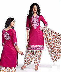 Khazanakart New Attractive Multi Colour Cotton Top,Bottom and Dupatta Fabric Bollywood Style Designer Salwar Suit Dress Material For Wome.