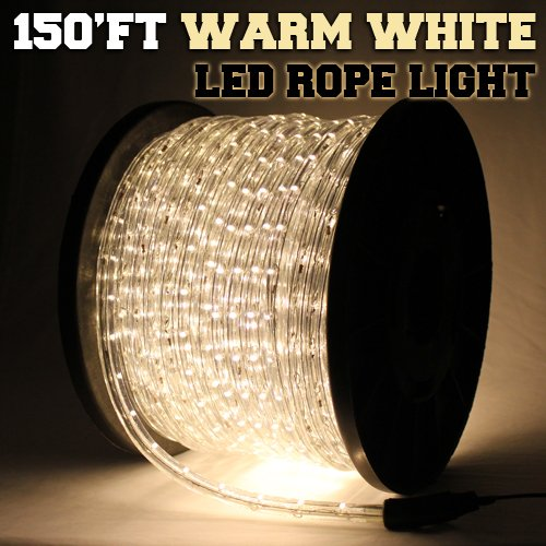 150'ft Warm White 2-Wire LED Rope Light Flexible Home Outdoor Christmas Lighting 110v