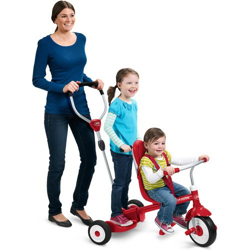 Radio-Flyer-Ride-Stand-Stroll-N-Trike-Kids-Toy-Childrens-Pushpedal-Ride-ons-Indooroutdoor-Toys-High-back-Seat-Secure-3-point-Harness-1-Year-Product-Warranty