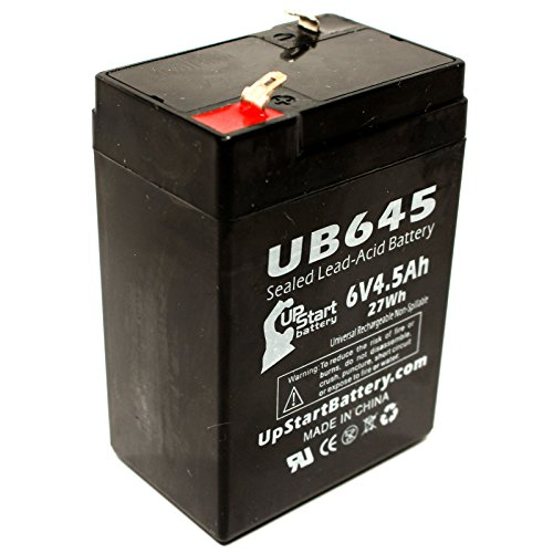Omnibot 2000 Battery - Replacement Ub645 Universal Sealed Lead Acid Battery (6V, 4.5Ah, 4500Mah, F1 Terminal, Agm, Sla) - Includes Two F1 To F2 Terminal Adapters