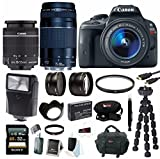 Canon EOS Rebel SL1 Digital SLR with 18-55mm IS STM Lens + 75-300mm f 4.0-5.6 EF III Lens + 2.2x Pro Telephoto Lens + 0.43x Wide Angle Lens + Slave Flash + 32GB SDHC Deluxe Accessory Bundle