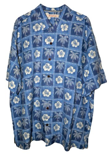 Tommy Bahama Peace Love and Patch Silk Camp Shirt (Color: Beachside Blue, Size XL)