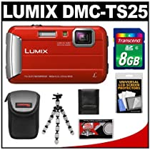 Panasonic Lumix DMC-TS25 Shock & Waterproof Digital Camera (Red) with 8GB Card + Case + Flex Tripod + Accessory Kit