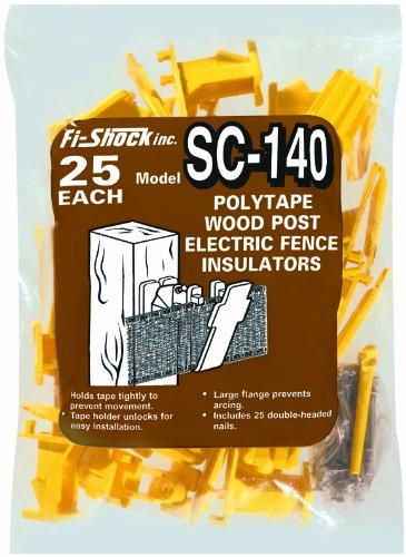 Fi-Shock Sc-140 Yellow Polytape Wood Post Insulators, 25-Per Bag
