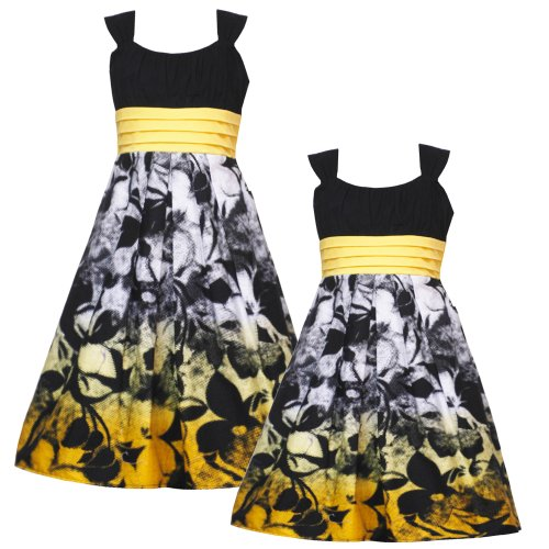 Size-6X RRE-3843E BLACK WHITE YELLOW-OMBRE FLORAL BORDER PRINT Special Occasion Wedding Flower Girl Easter Party Dress,E338431 Rare Editions 4-6X