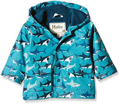 Hatley Baby Great White Sharks Infant Raincoats, Turquoise, 18-24 Months