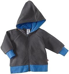 Zutano Unisex Baby Cozie Fleece Contrast Hoodie, Gray, 6 Months