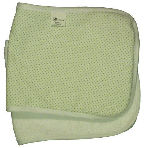 MOMMBY Burp Cloth Blanket - 100% Cotton, Green Dots