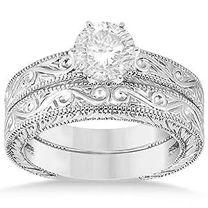 Allurez - Klassische Filigree Entwickelt Solitaire Diamant-Hochzeits Set 14K Gold