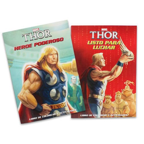 Officially Licensed Bilingual(English, Spanish) Thor Coloring Book Set(2 Pack) - 1