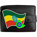 Ethiopia Black Leather Wallet Flag Design Coloured Colored Printed Picture Image Motif Coat of Arms Emblem National Symbol Escutcheon Crest Pennon Personalisation available