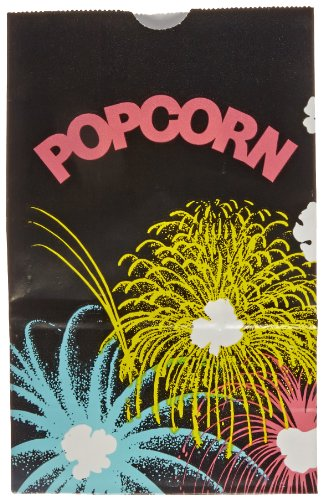 "Bagcraft Papercon 300447 Theater Popcorn Bag With Black Funburst Design, 32 Oz Capacity, 6-3/4"" Length X 4-1/4"" Width X 2-1/2"" Height (Case Of 1000)"