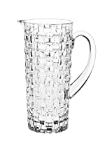 Fine Bavarian Crystal Glass Jug in Bossa Nova Basketweave Design - 42oz. Made in Germany
