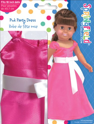 Springfield Collection by Fibre-Craft - Pink Party Dress with Large White Bow - Fits All 18-Inch Dolls - Mix and Match! - For Ages 4 and Up - 1