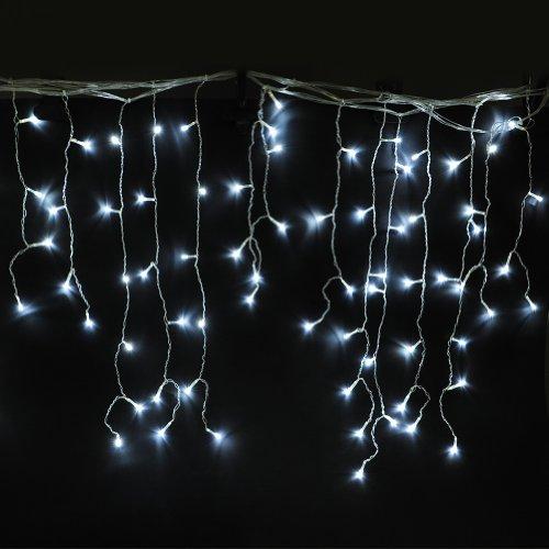 LED 20W deko 240 LEDs IP44 Eisregen Eiszapfen Lichterkette Dekolichterkette Lichtervorhang Weihnachtsbeleuchtung Weihnachtsdeko für innen außen aussen Kaltweiß Kaltweiss mit Stecker 8 Modi