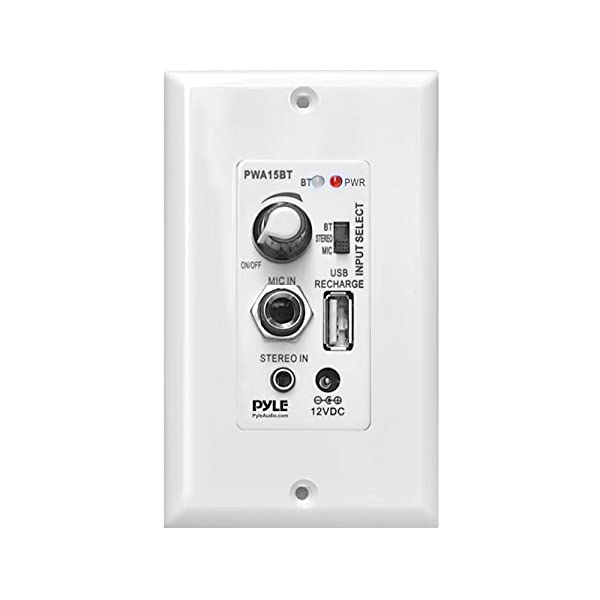 Pyle Bluetooth Receiver Wall Mount | In-Wall Audio Control Receiver with Built-in Amplifier | USB, Microphone, Aux (3.5mm) Input | Speaker Terminal Block | Connect 2 Speakers - 100 Watt (PWA15BT) (Color: White)