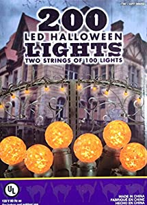 Orange 200 LED Halloween Lights - 2 Strings of 100 each G12 by Everstar