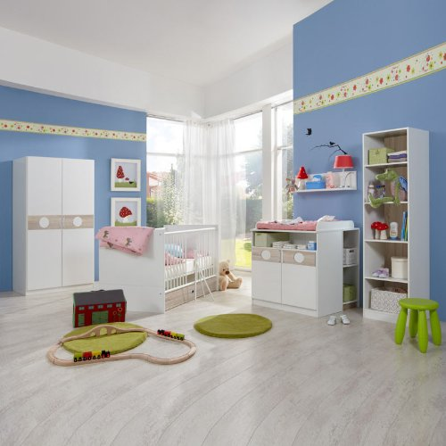 Babyzimmer 8-tlg »BONO« Eiche sägerau – alpinweiß