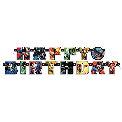 6.5ft Justice League Birthday Banner (Batman Supplies compare prices)