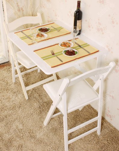 Sobuy Wall-Mounted Drop-Leaf Table, Folding Dining Table Desk, Solid Wood Table, 75×60Cm - White, Fwt05-W