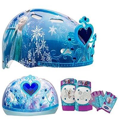 Disney Frozen Tiara Girls Skate / Bike Helmet, Pads & Gloves - 7 Piece Set by Disney by Bell