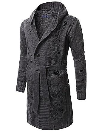 Doublju Mens Hooded Long Length Cardigan at Amazon Men's
