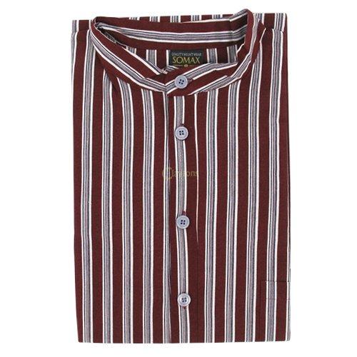 Men's Nightshirt (MCN7) - Grandad Collar Wine Stripe by The Best Nightshirt Co.