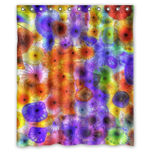 Custom Unique Design Sea Jellyfish Waterproof Fabric Shower Curtain, 72 By 60-Inch front-440206