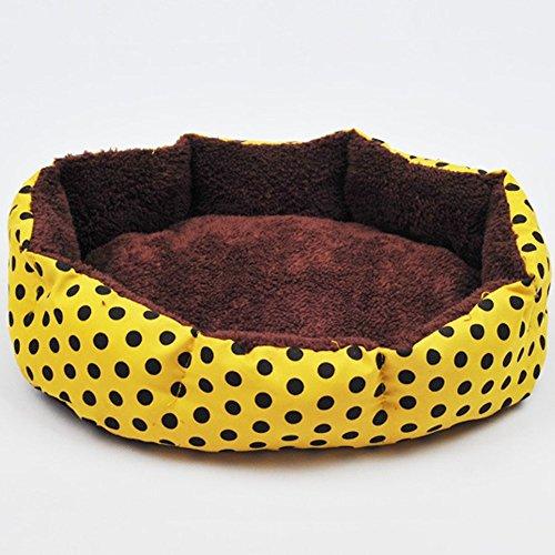 快適なペットライフに! ペットベッド 犬/猫ベッド ソファ ベッドクッションふわふわベッド ペットクッション水玉レッド柄 (L, イエロー)
