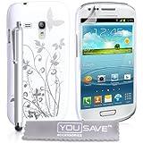Yousave Accessories SA-EA01-Z961P Coque + Stylet + Film de Protection pour Samsung Galaxy S3 Mini Floraux Papillon Blanc/Argent