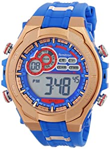 Armitron Sport Men's 40/8188BRG Red and Rose Gold-Tone Accented Blue Resin Strap Digital Chronograph Watch