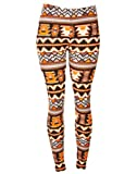 Orange and Black Comfortable Geometric Aztec Print Fashion Leggings