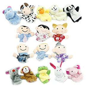 Yabber® 16 Piece Finger Puppet Set 10 Animals 6 People Family Members Educational Puppets for Storytelling Story Time Language Skills Imagination Motor Development Enhance Relationships Interaction Creativity by HavnaBall