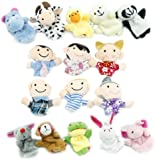 Yabber® 16 Piece Finger Puppet Set 10 Animals 6 People Family Members Educational Puppets for Storytelling Story Time Language Skills Imagination Motor Development Enhance Relationships Interaction Creativity