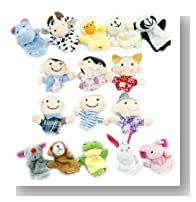 Yabber Large 16 Piece Finger Puppet Set, 10 Animals, 6 People, Family Members, Educational Puppets for Language Skills, Imagination, Motor Development, Enhancing Relationships