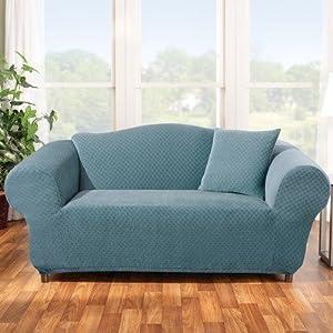 Stretch Stone Sofa Slipcover In Teal Box