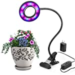 LED Grow Lights,10W Adjustable 6 Level Desk Plant Lamp with 360° Flexible Gooseneck Arms and Spring Clamp for Indoor Plants Hydroponic Greenhouse Gardening Plant